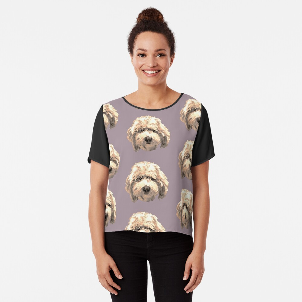 Lucky Labradoodle Face ~ Golden Chiffon Top