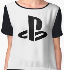 Playstation Black Logo Women's Chiffon Top