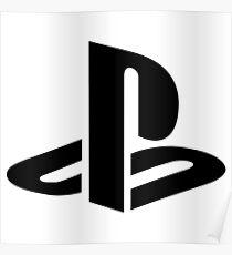 Playstation Black Logo Poster