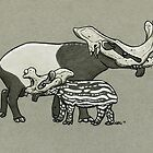 Brontotherium Skull Tapirs by Natalie Metzger