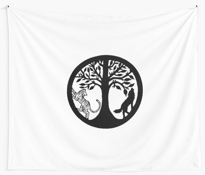 Tiger Tree and Wolf by Kara  Davison