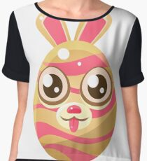 Pink And Cream Stripy Egg Shaped Easter Bunny Women's Chiffon Top