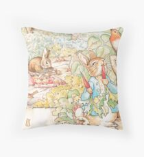 The World Of Beatrix Potter large vintage illustration Throw Pillow