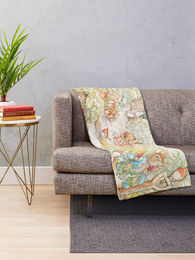 Alternate view of The World Of Beatrix Potter large vintage illustration Throw Blanket