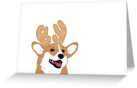 Reindeer Corgi Greeting Card by lacorgi
