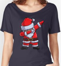 Santa Claus Dabbing Pixel Art T Shirt Christmas Dab Dance Gifts Women's Relaxed Fit T-Shirt
