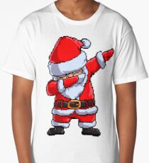 Santa Claus Dabbing Pixel Art T Shirt Christmas Dab Dance Gifts Long T-Shirt
