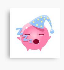 Sleeping Round Character Emoji Canvas Print