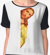 Peeking Vintage Jesus Parody - Funny Jesus Meme Sticker T-Shirt Pillow Chiffon Top