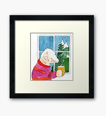 Polar bear drinking coffee - illustration Framed Print