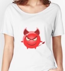 Devil Evil Round Character Emoji Women's Relaxed Fit T-Shirt