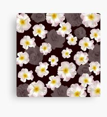 White Flowers on Black Canvas Print