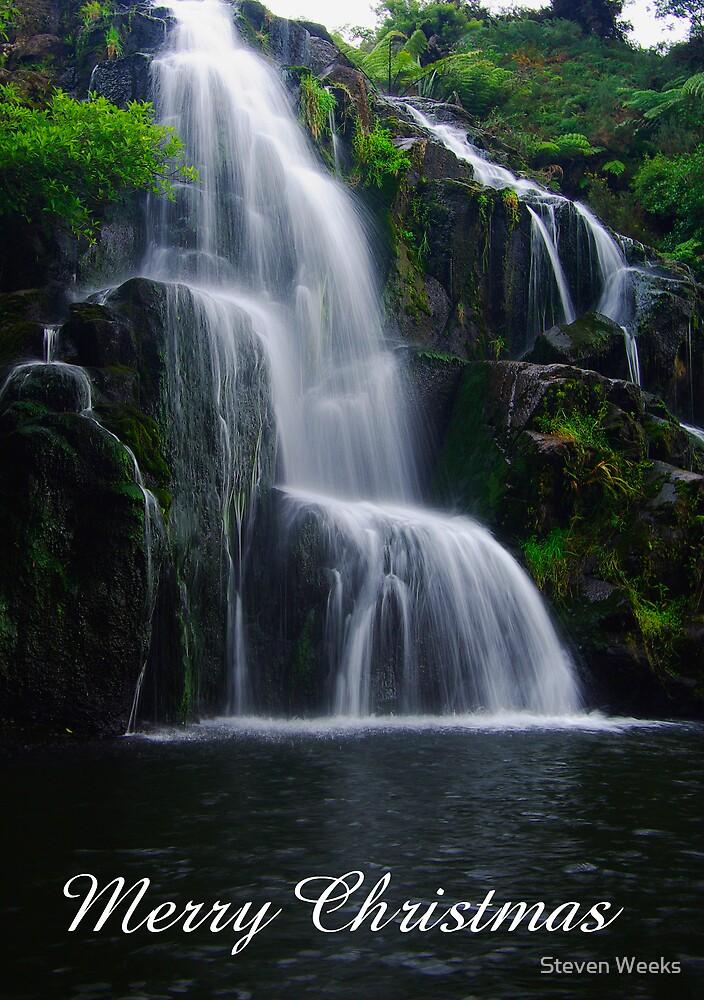 Owharoa Falls, Merry Christmas by Steven Weeks