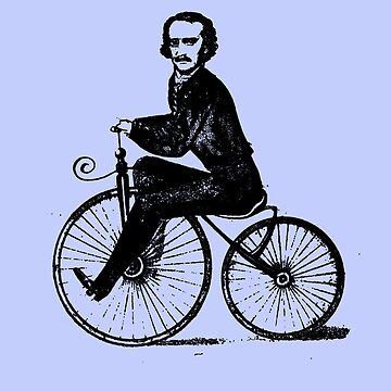 Edgar Allan Poe on a Bicycle by Greenbaby