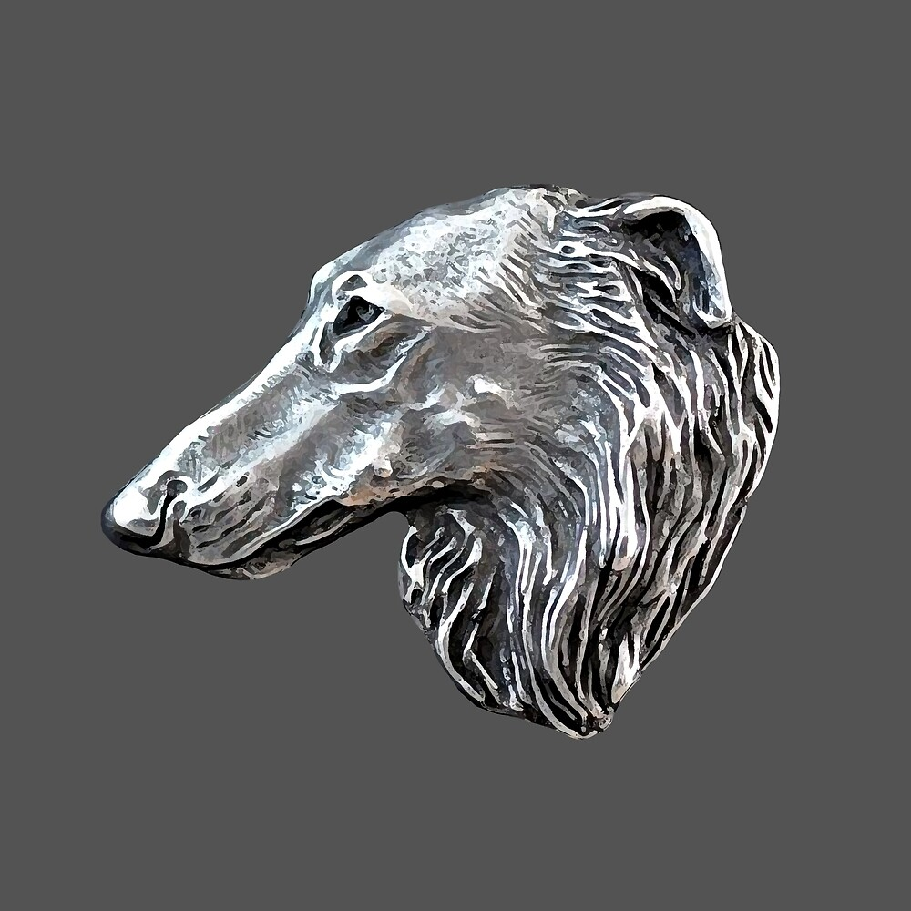Vintage Borzoi Head by Happy Dog Swag