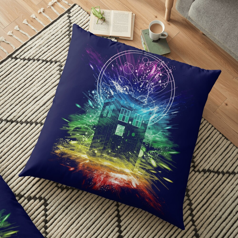 time storm-rainbow version Floor Pillow