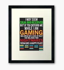 Funny Hilarious Gaming Gift T-shirt Framed Print