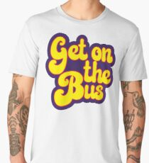 Hippie Typography - Get On The Bus - Psychedelic 60s Text Men's Premium T-Shirt