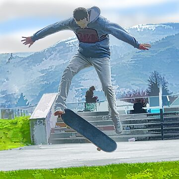 Boarding School - Skateboarder at Park by RavenPrints