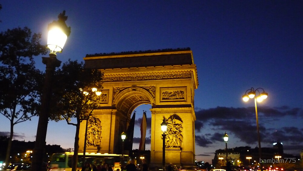 Arc de Triomphe at Night by bambam775