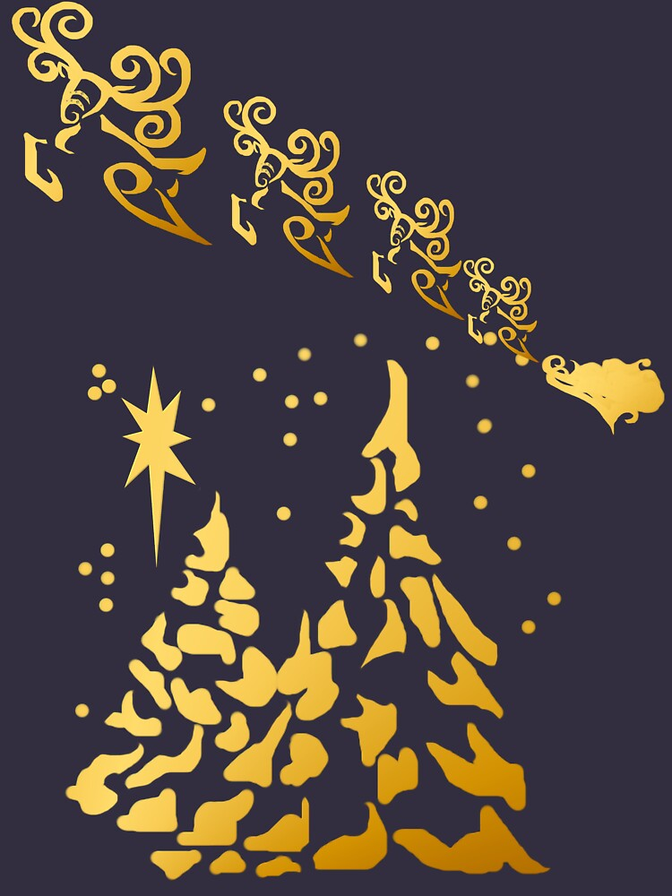 Gold Trees and Santas Reindeer  by Lotacats