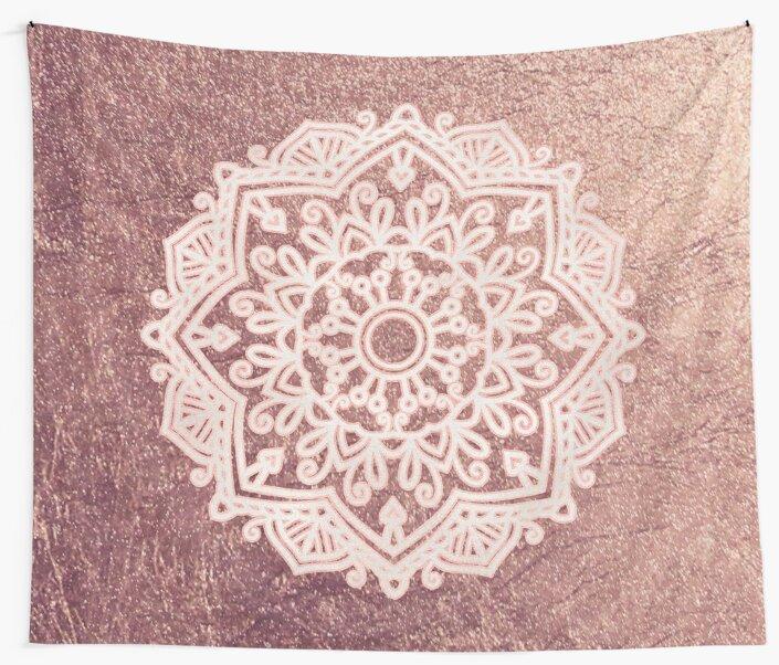 Dusty Rose Gold Mandala By Peggieprints