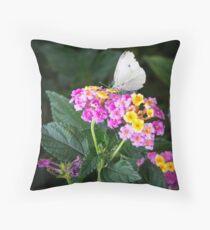 Cabbage Moth on Lantana Throw Pillow