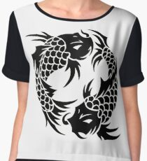 Ying Yang Black Koi Women's Chiffon Top