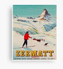 Zermatt, Switzerland Vintage Ski Travel Poster Canvas Print