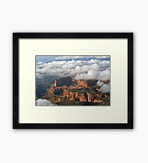 Kolob section of Zions Park with clouds Framed Print