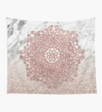 Rose gold mandala marble glitter ombre Wall Tapestry