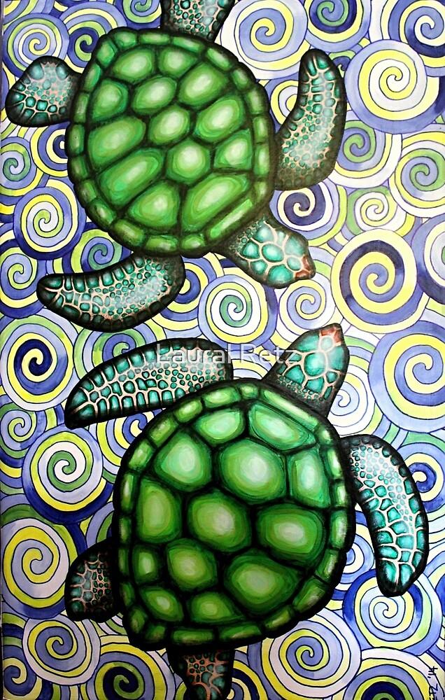 Turtle Tide in Spirals by Lolly Legs