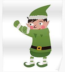 Dabbing Elf Christmas Holiday Poster