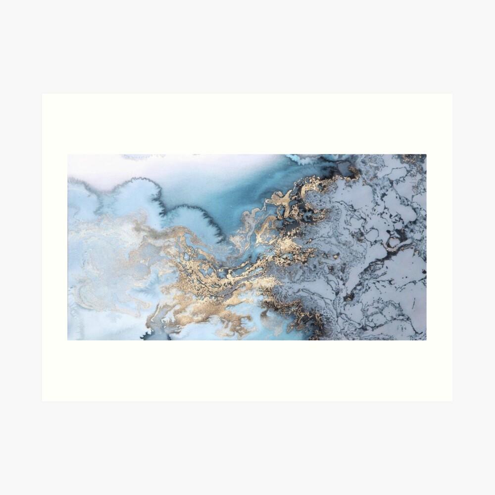 Blau und Gold Marmor Kunstdruck