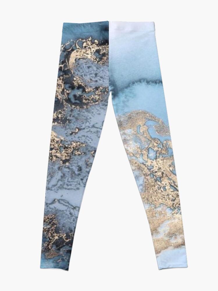 Alternative Ansicht von Blau und Gold Marmor Leggings