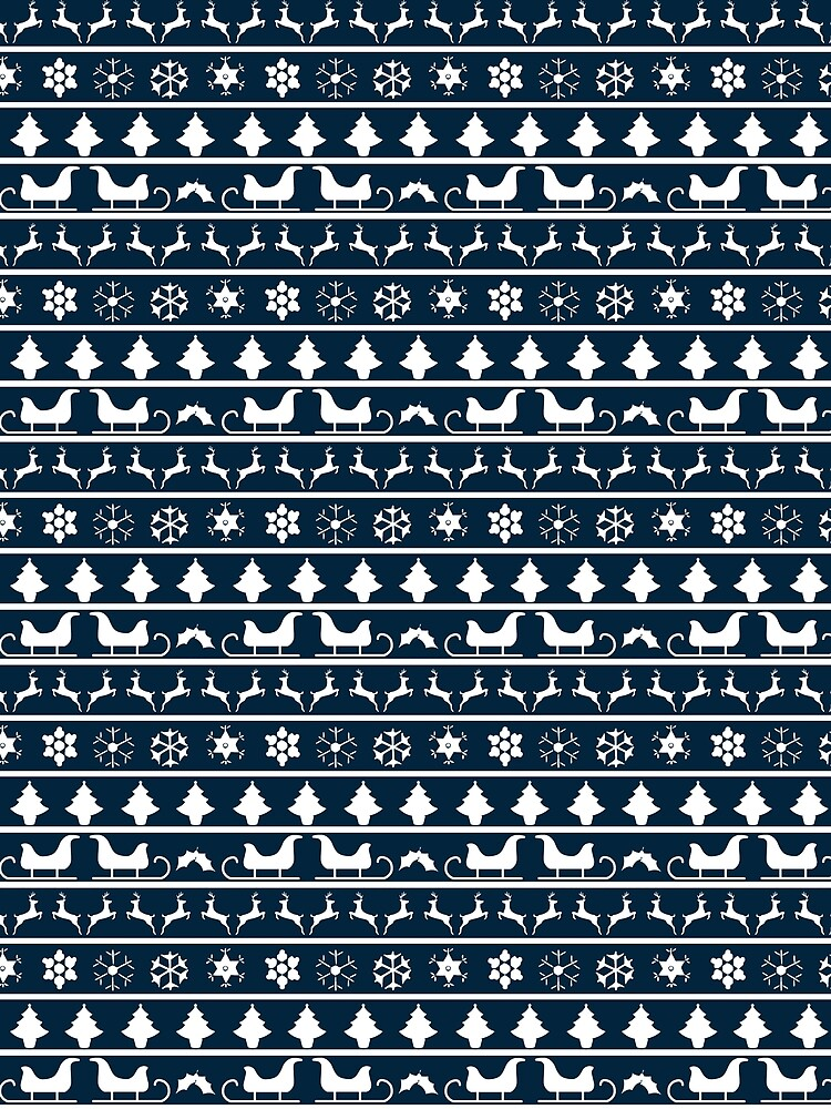 Christmas Blue and White Tiny Christmas Nordic Knit Repeated Fair ...