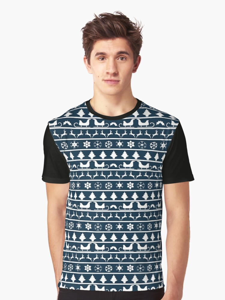 Blue And White Christmas Sweater.Christmas Blue And White Tiny Christmas Nordic Knit Repeated Fair Isle Pattern Graphic T Shirt By Podartist
