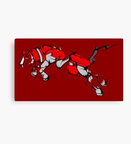 Red Voltron Lion Cubist Canvas Print