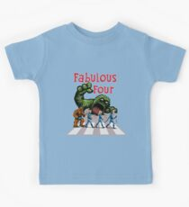 4 Superheroes Cross the Road Kids Tee