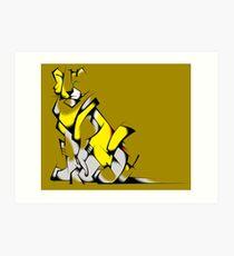 Yellow Voltron Lion Cubist Art Print