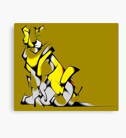 Yellow Voltron Lion Cubist Canvas Print