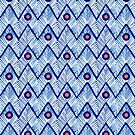 Coral Dots on Blue Chevron by Tammy Wetzel