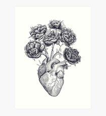 Heart with peonies B&W Art Print