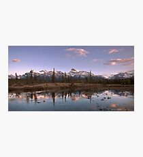 Sunset Over Mount Peskett at Kootenay Plains Photographic Print