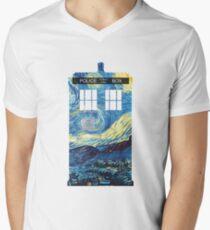 Camiseta de cuello en V TARDIS de Van Gogh