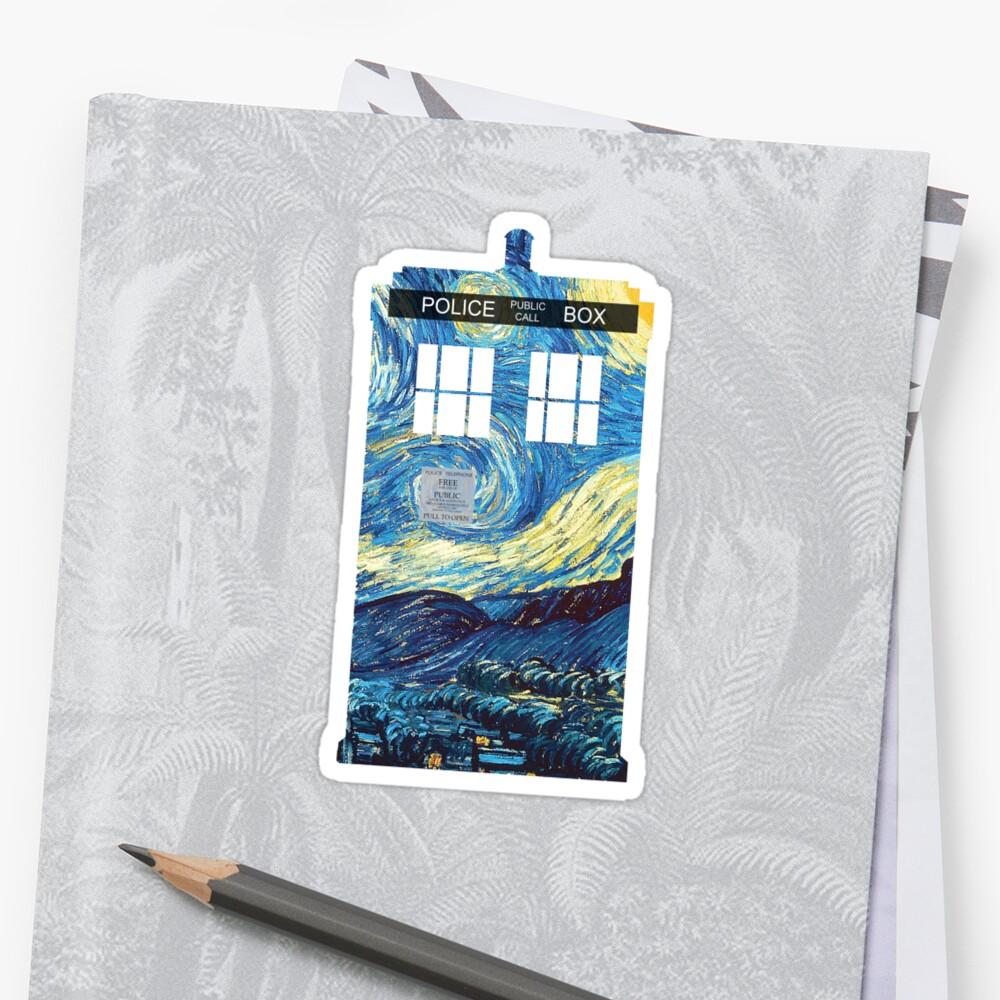 TARDIS de Van Gogh Pegatina