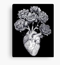 Heart with peonies B&W on black Canvas Print