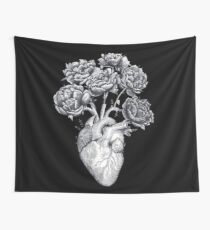 Heart with peonies B&W on black Wall Tapestry