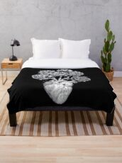 Heart with peonies B&W on black Throw Blanket