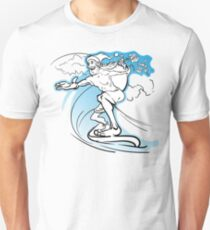 Careless slim Santa surfing the wave and loosing the gifts from his huge sack T-Shirt